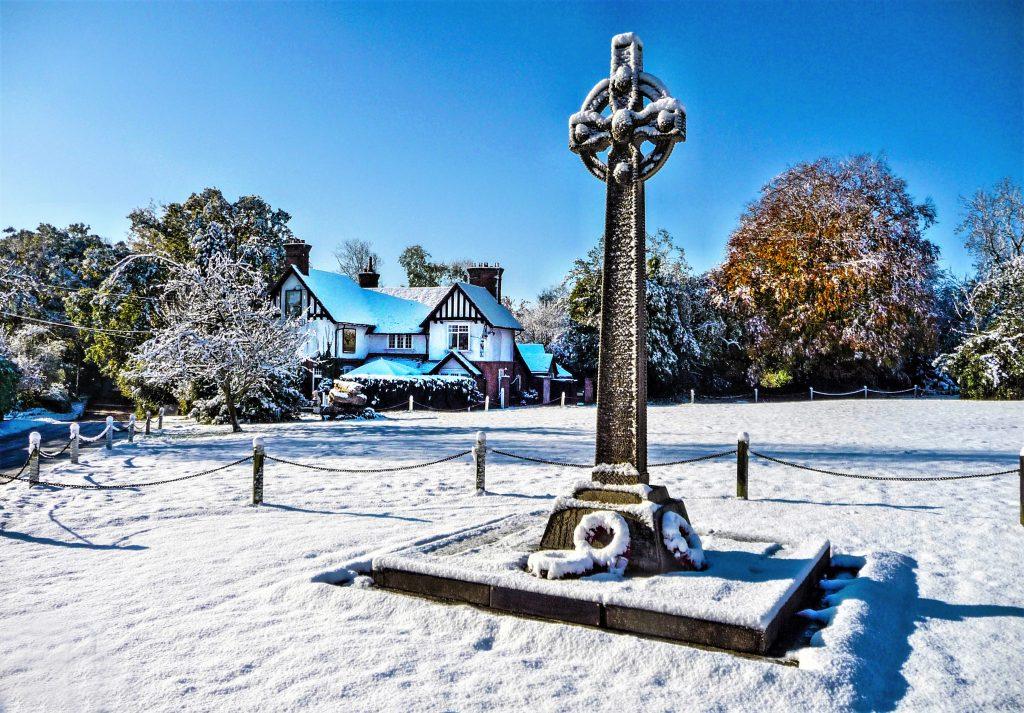 War memorial in the snow