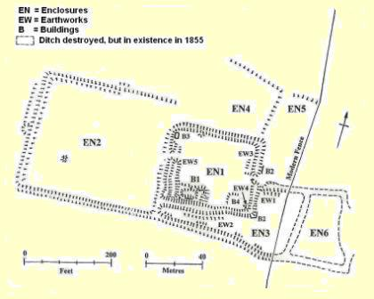 map of earthworks at Bray's Wood