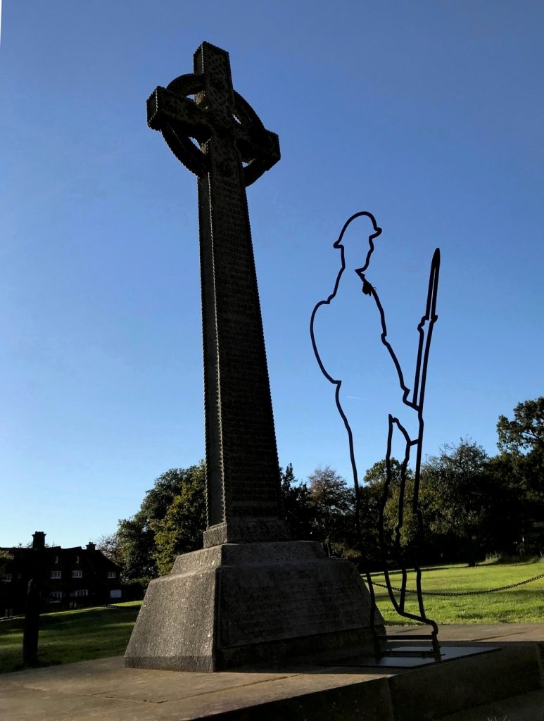 "The Lee War Memorial with ""Tommy"" silhouette"