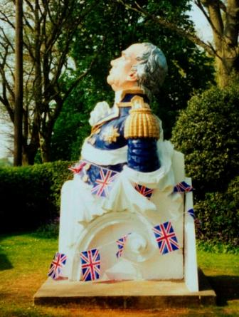 Lord Howe figurehead with Union Jack bunting