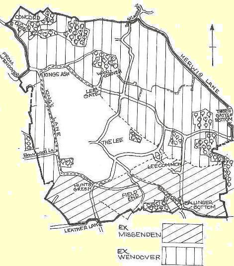 Map of the parish, showing land ceded from Great Misenden and Wendover