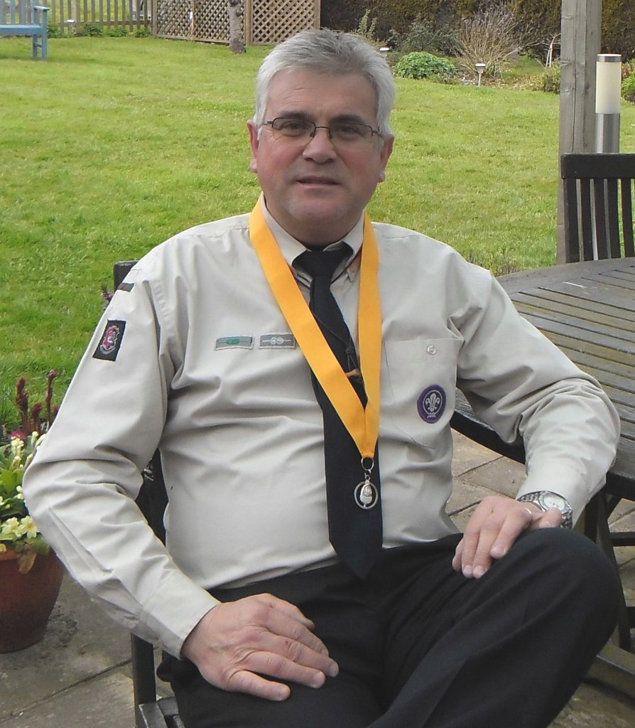 Chris Nevill, Group Scout Leader, Lee Common proudly wears the Scout Associations's Silver Acorn Award