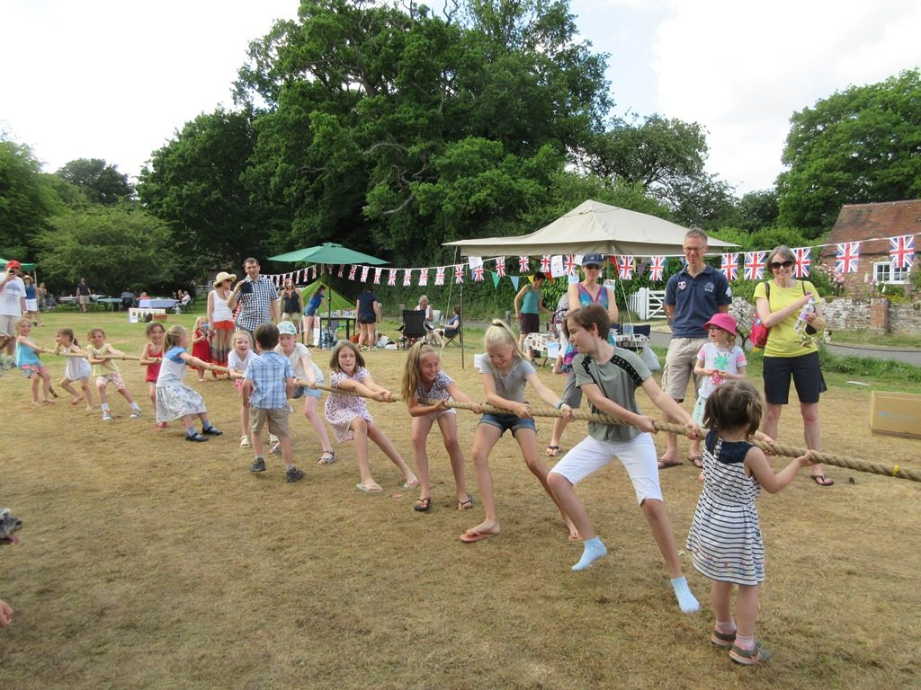 Girls team at the tug-of-war at the Church Fete