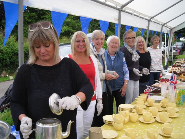 Helpers ready to start service in the tea tent at The Lee church fête