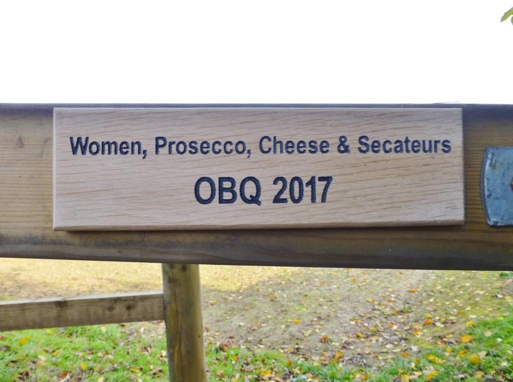 Inscription reading 'Women, Prosecco, Chese and Secateurs. OBQ 2017' on the latest kissing gate installed by Chltern Society volunteers