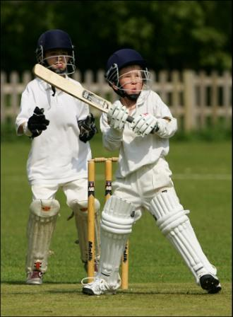 Colt's cricket, with a young batsman ready to strike