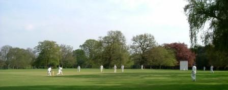 Playing cricket in the cricket ground at The Lee Manor Park