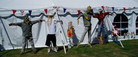 Scarecrows outside the marquee