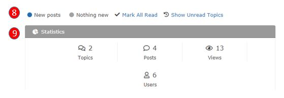 screenshot showing the summary of posts (number 8) and statisitcs (number 9)