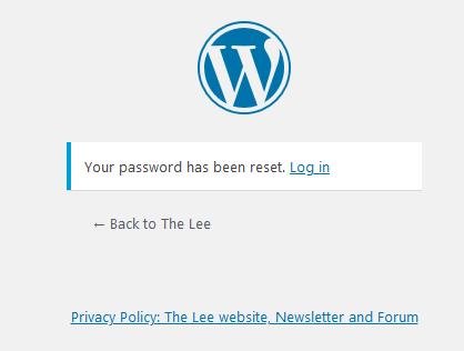 screenshot confirming that the password has been reset