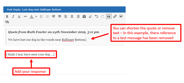 screenshot showing quoted text in a reply