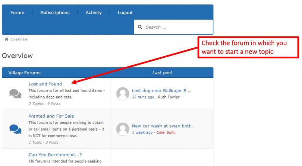 screenshot highlighting the list of forums