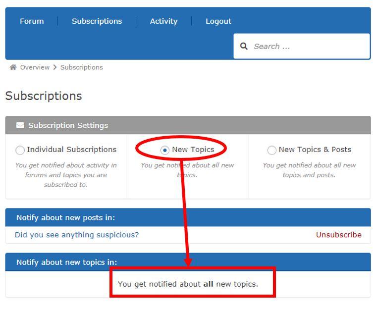 screenshot highlighting the New Topics button