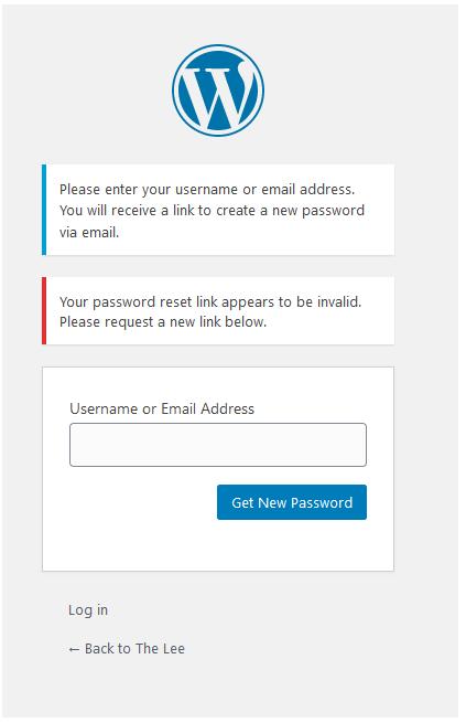 screenshot of the forum's login screen