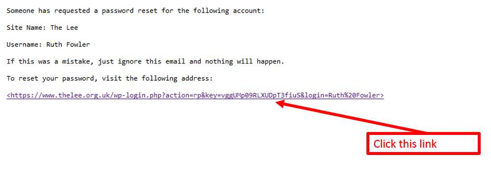 sample of the email received to reset a password link