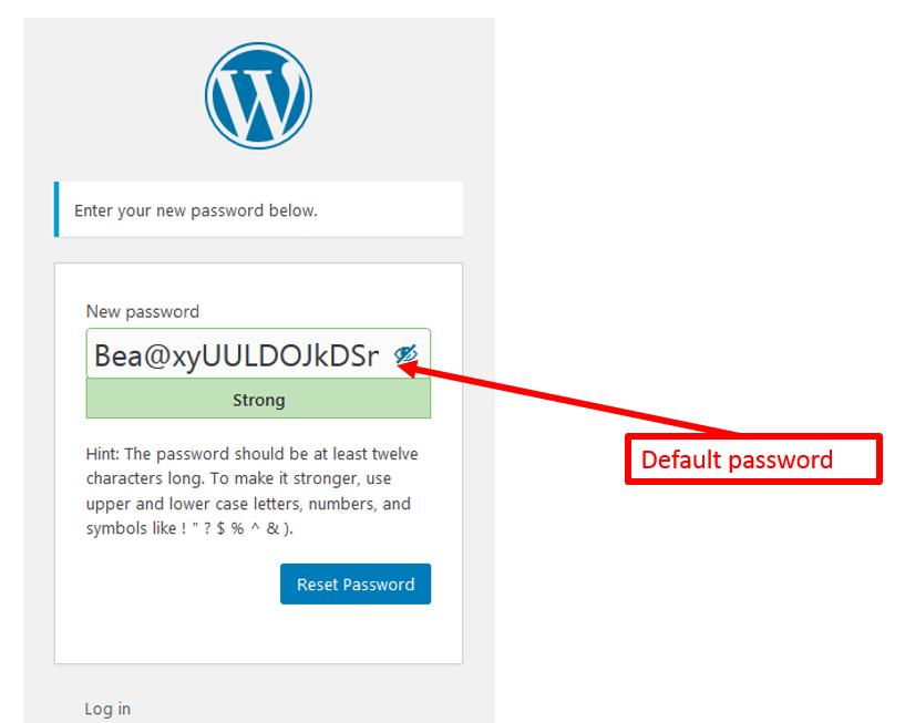 annotated screenshot of a default password