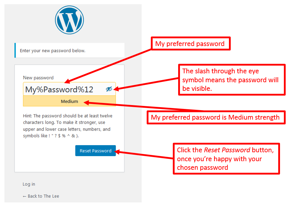 annotated screenshot of setting a password