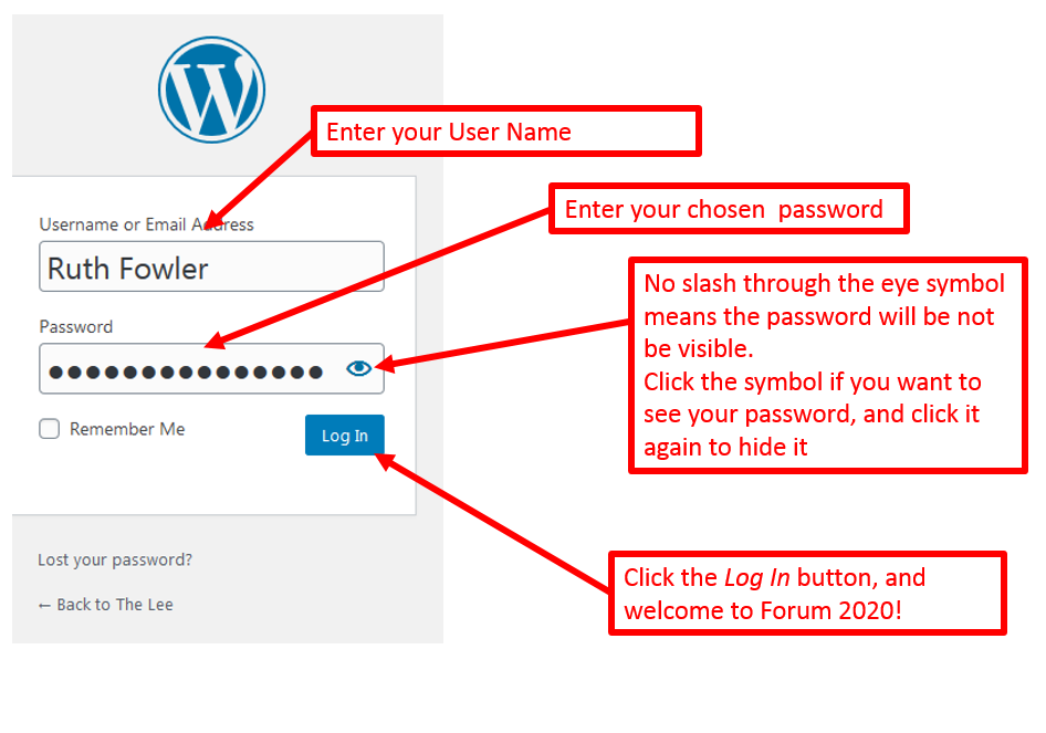 annotated screenshot of the login screen