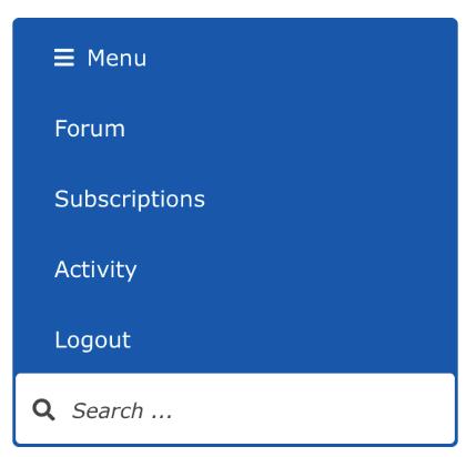 screenshot of the forum's menu: Forum, Activity: Login, Register