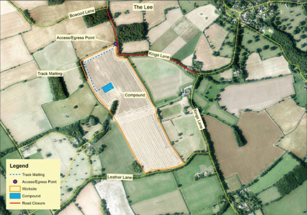 Aerial view showing the planned closure of Kings Lane