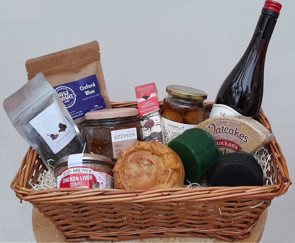 Shop at The Lee's Christmas hamper: chutney, pate, biscuits, cheese, pickles and a bottle of wine