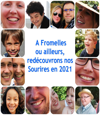 """Montage of photos of several residents of Fromelles smiling, with the legend """"A Fromelles ou ailleurs, redecouvrons nos Sourires en 2021"""" which roughly translates as """"In Fromelles and elsewhere, let's rediscover our smiles in 2021"""""""