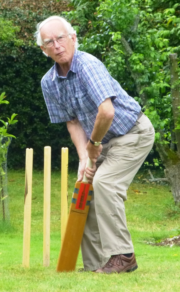 Barnaby at the wicket in his garden