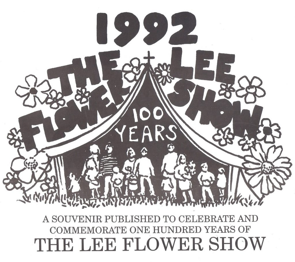Logo of The Lee Centenary Flower Shower show, a balck and white drawing of people standing in the doorway of a large marquee