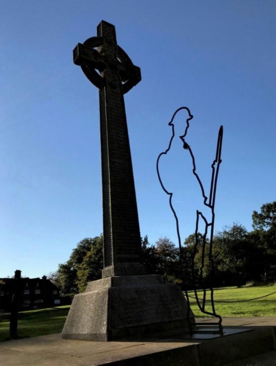 The Lee War Memorial, with Tommy silhouette in front in commemoration of he centeneary of the end of World War 1