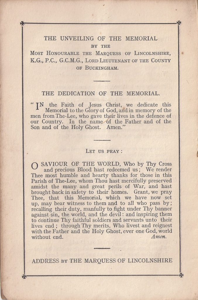 Dedication of the memorial by the Marquess of Lincolnshire